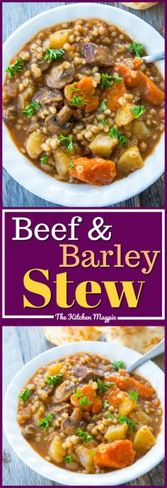 Hearty and delicious beef and barley stew, perfect for a comforting dinner at the end of the day. Make it in your Instant Pot or your slow cooker. #instantpot #slowcooker #stew #soups #recipes