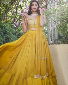 Vibrant sunny lehenga with unique blouse. Indian Bridal Outfits, Indian Designer Outfits, Designer Dresses, Indian Fashion Bloggers, Indian Fashion Modern, Lengha Blouse Designs, Indian Attire, Indian Wear, Indian Party Wear