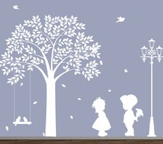 wall decal - Tree silhouettes with boy & girl - Childrens Wall Decal - wall decal