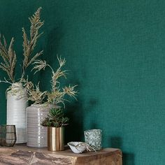 A beautifully simple linen fabric textured effect vinyl wallcovering. Created in a range of colours, shown here in the dark green. Please request sample for true colour and texture. Vinyl Wallpaper, Dark Green Wallpaper, Fabric Textures, Bedroom Green, True Colors, Linen Fabric, Modern, Home And Garden, Color Azul