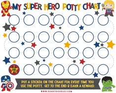 potty training sticker chart with super heroes Sticker Chart Printable, Potty Training Sticker Chart, Potty Training Boys, Potty Training Charts, Potty Training Rewards, Toilet Training, Reward Chart Kids, Kids Potty, Charts For Kids