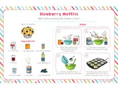 Bake muffins bursting with blueberry flavor! Kids Cooking Recipes, Cooking Classes For Kids, Kids Meals, Baking Set, Baking With Kids, Baking Ideas, Recipe Drawing, Wrap Recipes, Blue Berry Muffins