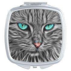 Fractal grey cat illustration compact mirror