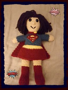 Supergirl Doll Handmade Personalized Superman Superhero Batman Batgirl Approximately 10 inches tall by HaldaneCreations on Etsy