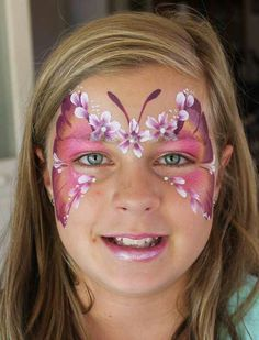Butterfly face paint mask with flowers face painting ideas for kids