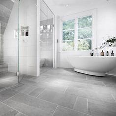 Stunning Bathroom with Bricmate Limestone Light Gray, Stunning Bathroom with Bricmate Limestone Light Gray …, Grey Bathroom Floor, Light Grey Bathrooms, Gray And White Bathroom, White Bathroom Tiles, Laundry In Bathroom, Bathroom Flooring, Bathroom Design Small, Bathroom Interior Design, Home Interior
