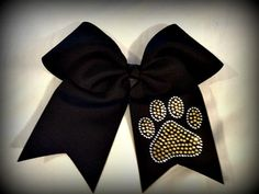 Customizable Black Cheer Bow with Tails by BowsbyBarb on Etsy, $12.00