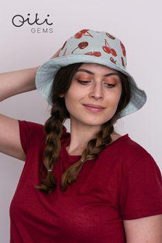 Handmade linen bucket hat in mint color with original linocut print pattern - cherries. Fruit Pattern, Mint Color, Linocut Prints, Cherries, Smoothie, Ale, Bucket Hat, Print Patterns, Gems