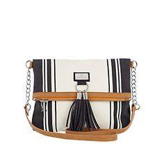 cream and black stripe cross body messenger bag with light brown trim and tassel detail,