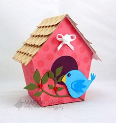LOVE this bird house craft made with Print Candee digital products Cardboard Crafts, Paper Crafts, Decoration Creche, Diy For Kids, Crafts For Kids, Crafts To Make, Diy Crafts, Birdhouse Craft, Bird House Kits