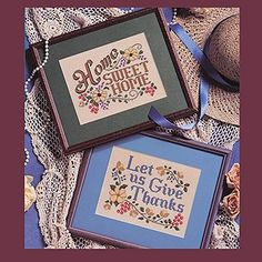 """Signs of Love #2 Plastic Canvas ePattern - (Leisure Arts Leaflet #1574) These inspirational designs would make thoughtful additions any home decor. Our two custom-framed sayings, """"Home Sweet Home"""" and """"Let Us Give Thanks"""" are stitched on 8"""" x 11"""" sheets of 14 mesh ivory plastic canvas using six strands of embroidery floss unless otherwise indicated. Number of Designs: 2 framed designsApproximate Design Size: 8""""w x 6""""h each"""