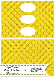 Yellow Lego Theme Water Bottle Wrappers from PrintableTreats.com