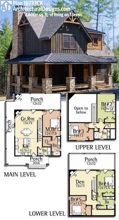 Architectural Designs Rugged House Plan 18733CK gives you over 2,600 sq. ft. of living on 3 levels.