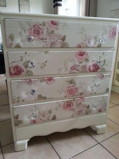 Beautiful old draws refurbished.using craig n rose pale cream. draw fronts cove… Beautiful old draws refurbished.using craig n rose pale cream. draw fronts covered in a vintage floral fabric. main draws waxed for protection. Decoupage Furniture, Refurbished Furniture, Paint Furniture, Upcycled Furniture, Shabby Chic Furniture, Furniture Projects, Furniture Makeover, Refurbished Phones, Shabby Chic Dressers