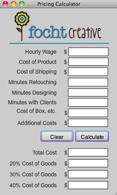 FREE Pricing Calculator by Focht Creative!  Great way to help you price yourself for your photography clients!