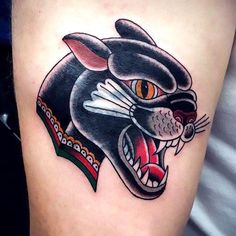 Beautiful traditional panther's head. Style: Old School. Color: Black. Tags: Cool, Beautiful, Awesome