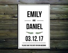 PDF Digital Printable File Simple Black and White Save the Date Wedding Invitations