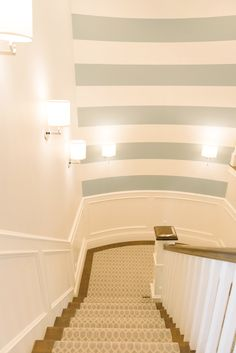 House of Turquoise: Dream Home Tour -  Stairway (striped) - Silken Blue CSP-670 & White Dove OC-17 Benjamin Moore