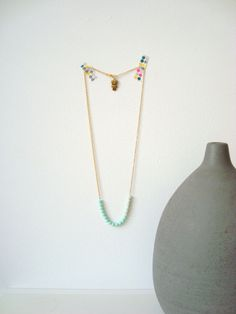 DELICATE dipped bead necklace in two mint colors with owl - by STICKTAILS