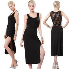 Stylish Lady Women Sexy Sundress Bodycon Side Split Mild-calf Cocktail Casual Long Dress