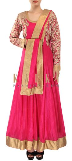 Buy Online from the link below. We ship worldwide (Free Shipping over US$100) http://www.kalkifashion.com/pink-anarkali-suit-adorn-in-zari-embroidery-only-on-kalki-15367.html