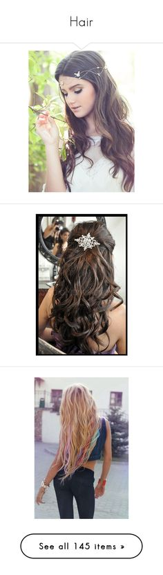 """""""Hair"""" by unicornofnetflix ❤ liked on Polyvore featuring accessories, hair accessories, hair, hairstyles, hair styles, pictures, people, bridal flower crown, bridal hair accessories and golden crown"""
