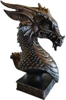 """Dragons are loved worldwide. This dragon head has attitude and excellent detail. The eyes are piercing and ever watching. The finish gives it a metalilic feel. Cold cast resin. 6 1/2""""."""