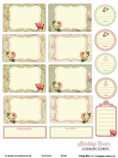 Shabby roses journaling elements available as a free printable pdf download for use in pocket scrapbooking or other papercrafts.