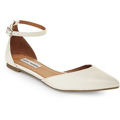 Steve Madden Women's Latvian Flats ($42) ❤ liked on Polyvore featuring shoes, flats, white, ankle wrap flats, ankle tie flats, flat pumps, steve madden and flat ankle strap shoes