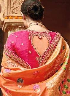 Orange and Hot Pink Embroidered Silk Saree features a gorgeous pure silk jacquard in weaving silk saree alongside an art silk blouse. Embroidery work is completed with zari, thread, and stone. Saree Blouse Neck Designs, Choli Designs, Saree Blouse Patterns, Traditional Blouse Designs, Designer Blouse Patterns, Designer Dresses, Silk Sarees, Saris, Indian Designer Wear