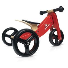 Kinderfeets TinyTot Wooden Balance Bike and Tricycle, Convertible No Pedal Balance Trike for Kids and Push Bike, Natural - 2 in 1 Toddler Toys, Baby Toys, Children's Toys, Mountain Bikes For Sale, Powered Bicycle, Push Bikes, Balance Bike, Wood Toys, Wood Bike