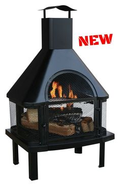 Chimnea Fireplace Wood Burning Heater Outdoor Patio Fire Pit Cozy Grate Screen