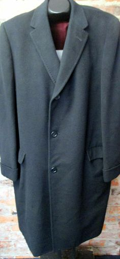 Mens Sz 46 Black Cashmere Dress Coat Vintage Dhalishan Winter Topcoat XL