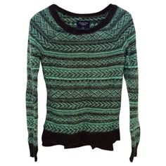 American Eagle Green Fair Isle Sweater Beautiful green and dark grey fair isle sweater from American Eagle. Size XS. Some minor signs of wear (a couple of pulled threads). Still in great condition and perfect for winter! American Eagle Outfitters Sweaters Crew & Scoop Necks