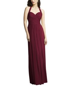 DescriptionDessy Collection 2932Full length bridesmaid dressModified halter sweetheart necklineCrisscross draped bodiceSlightly shirred skirtLux chiffon