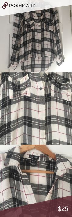 The perfect ultra soft button down Black white and red! Size small. Longer in the back. 2 top slouch pockets! Stoosh Tops Button Down Shirts