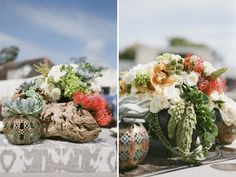 An Organic Beach Wedding Reception: Driftwood
