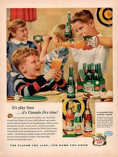 1956 Canada Dry Ginger Ale Original Food and Drink Print Ad -An original vintage 1956 advertisement, not a reproduction -Measures approximately x to x -Ready for matting and framing. Old Advertisements, Retro Advertising, Retro Ads, Vintage Ads, Marketing And Advertising, Vintage Food, Retro Food, Vintage Pyrex, Vintage Images