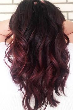 Black Cherry Hair Want to catch people's eyes with bold dark red hair color? The latest ideas are here in our color gallery: see the deep cherry ombre all-over mahogany coloring with purple hues and auburn ideas with brown balayage. Black Cherry Hair Color, Cherry Hair Colors, Hair Color For Black Hair, Cool Hair Color, Color Black, Chocolate Cherry Hair Color, Cherry Brown Hair, Ombre On Black Hair, Chocolate Ombre Hair