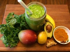 Turmeric Green Smoothie-coconut milk, banana, mango, avocado, lemon, ginger, kale, tumeric