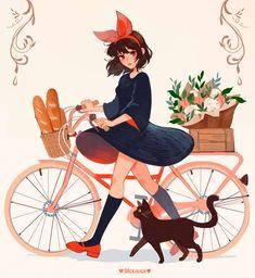 Kiki's Delivery Service Studio Ghibli Art, Studio Ghibli Movies, Japanese Animated Movies, Kiki's Delivery Service, Kiki Delivery, Kawaii Anime Girl, Miyazaki, Totoro, Cartoon Art