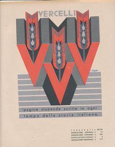 Fortunato Depero, Province Italiane, Vercelli, 1938 Cd Project, Russian Avant Garde, Art Deco Illustration, Vintage Typography, Old Ads, Aviation Art, Advertising Poster, Military Art, Vintage Advertisements