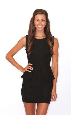 classic peplum dress – black