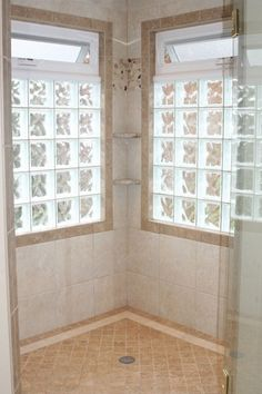 Awning window over Glass Block Windows In Shower Design Ideas, Pictures, Remodel and Decor Bathroom Windows In Shower, Window In Shower, Glass Bathroom, Narrow Bathroom, Bathroom Showers, Attic Bathroom, Glass Blocks Wall, Glass Block Windows, Window Glass
