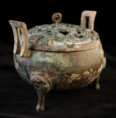 """Warring States Small Bronze Ding - CK.0057 Origin: China Circa: 475 BC to 221 BC  Dimensions: 3.875"""" (9.8cm) high x 5.25"""" (13.3cm) wide  Collection: Chinese Medium: Bronze"""