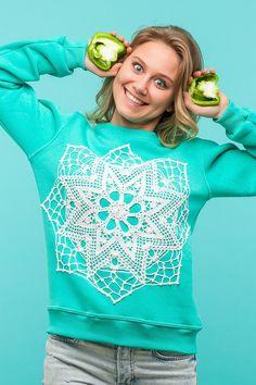 Mint I Sweatshirt | CROCHET PATTERN vintage womens mint white knitted mandala patter hand knitnted sweater unisex jumper handmade | by KKrugi on Etsy