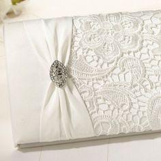 Gastenboek vintage lace  op Weddingdeco.nl