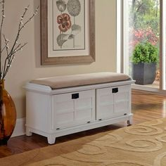 Arts And Crafts White Upholstered Storage Bench Home Styles Furniture Storage Benches Acce