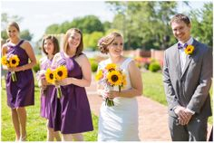 Bridesmaids purple dresses, sunflowers, wedding party, The Montpelier Center for Arts and Education Wedding
