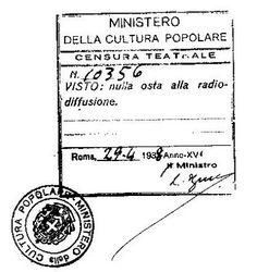 MINCULPOP: E' il ministero della cultura popolare istituito nel 22 maggio del 1937 dal Governo Mussolini e fu soppresso nel 22 aprile del 19...
